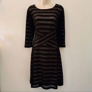 CATO sheer black striped dress with tan lining M